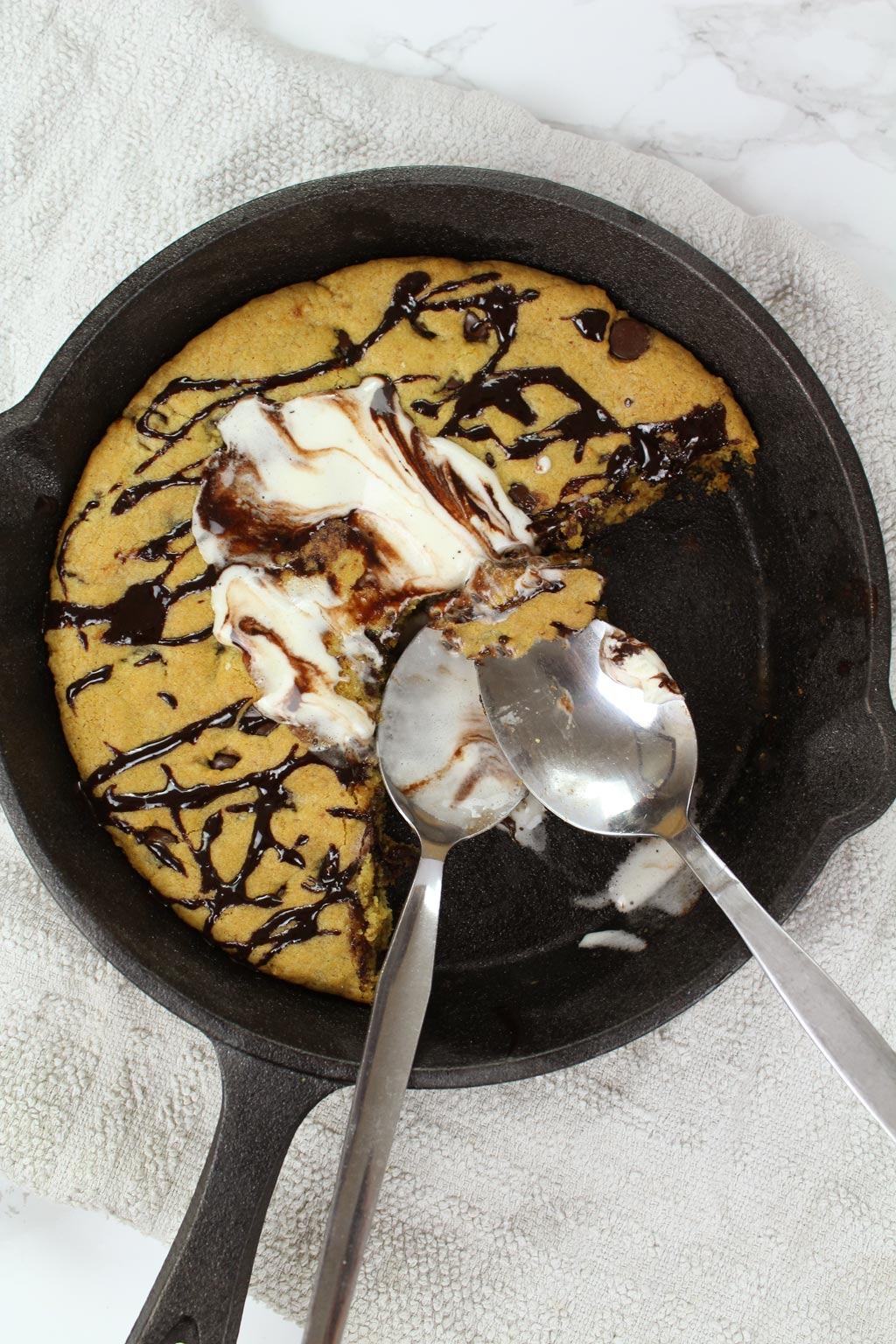 Half eaten pizza hut cookie dough in skillet