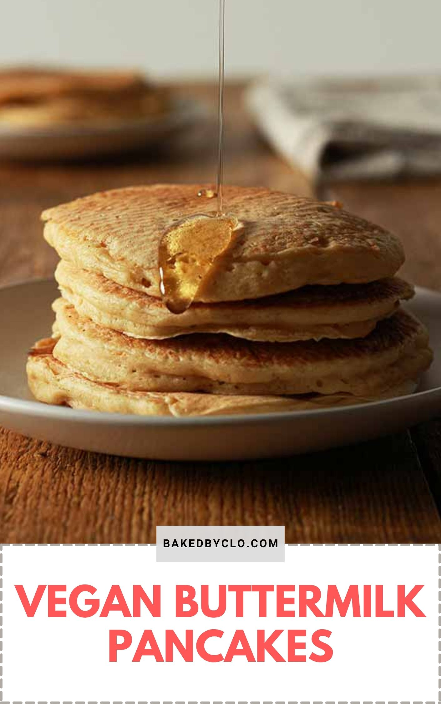 Pinterest pin image of a stack of vegan buttermilk pancakes