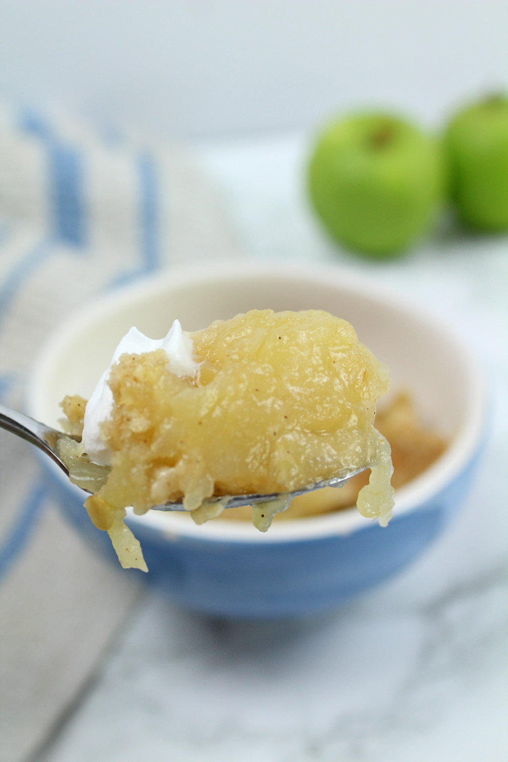 a spoonful of vegan apple crumble
