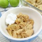 vegan apple crumble with cream