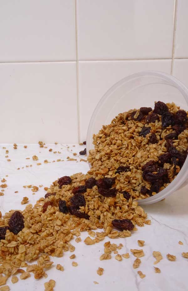 Healthy vegan cinnamon raisin granola