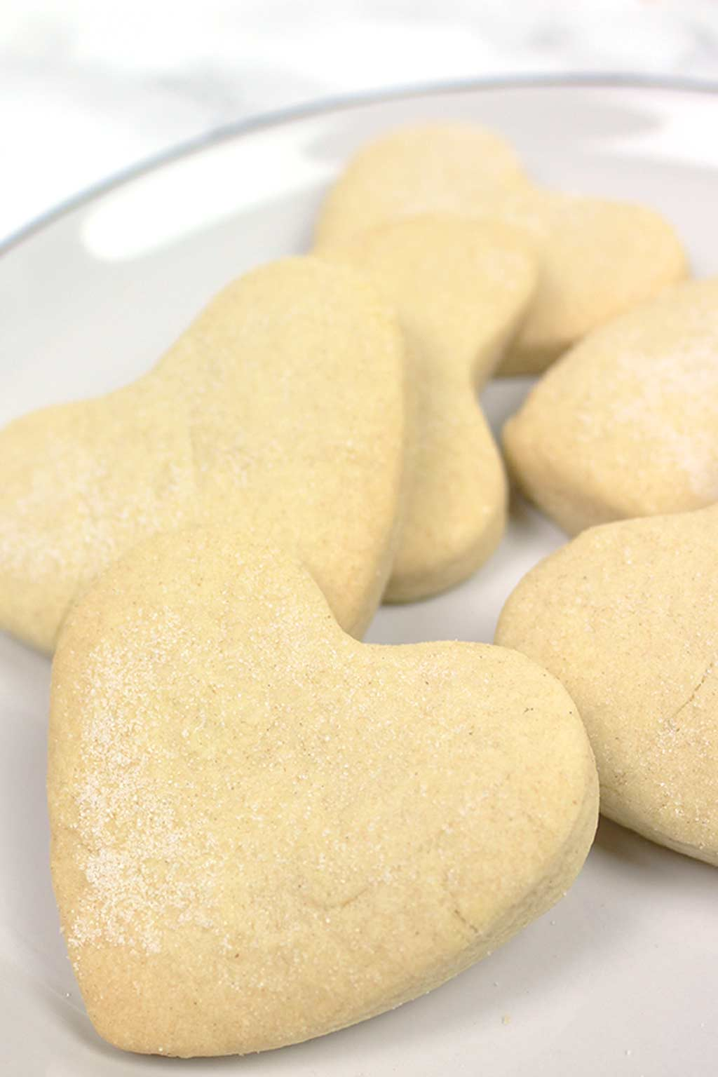 heart shaped vegan shortbread on a plate