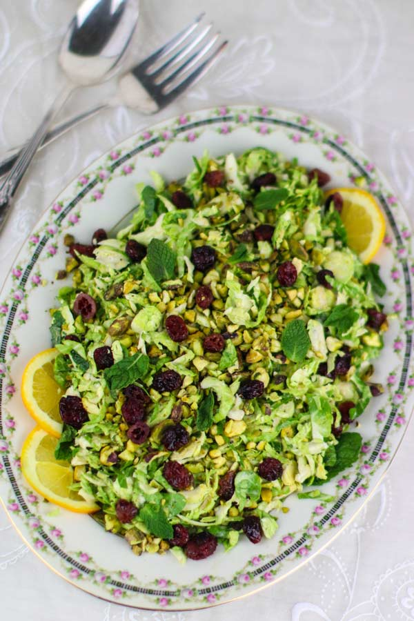 Vegan Brussels Sprouts Salad (with oil-free citrus vinaigrette, pistachios and orange-infused cranberries