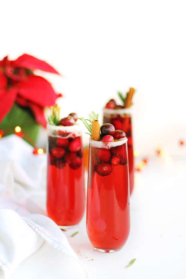 Orange cranberry mimosa cocktail