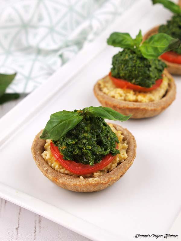 Tomato tartlets on a plate