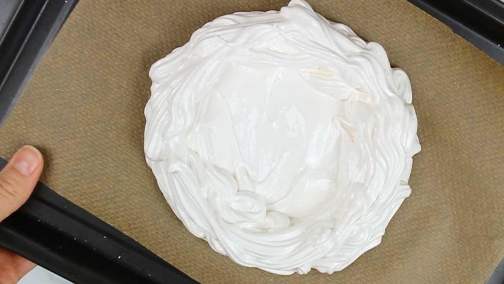 vegan pavlova before baking