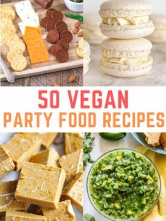 4 images of different vegan buffet foods with text in the centre that reads