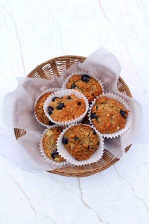 vegan blueberry muffins in a basket