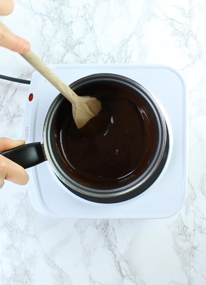Chocolate and peanut butter melted in pot