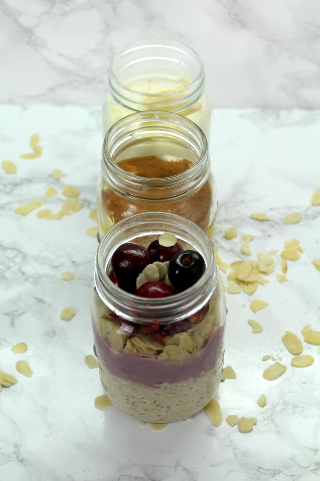 3 dessert inspired overnight oats with almond milk