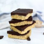 no bake chocolate peanut butter bars stacked