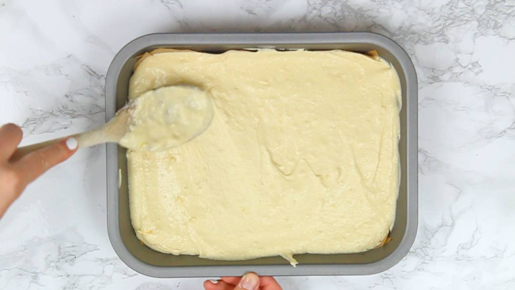 lemon cake batter in tin