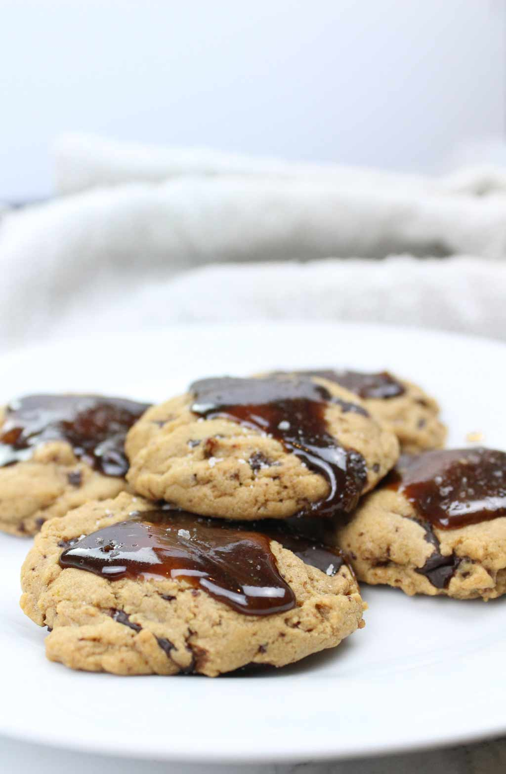 a plate of toffee chocolate chip cookies