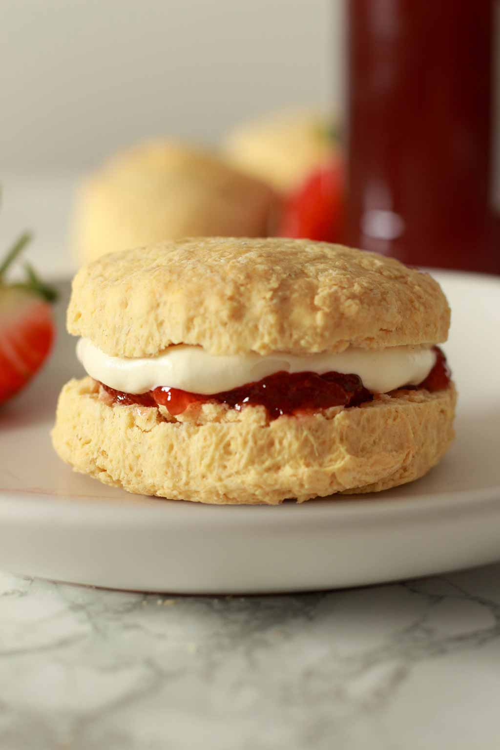Scone Filled With Jam And Cream