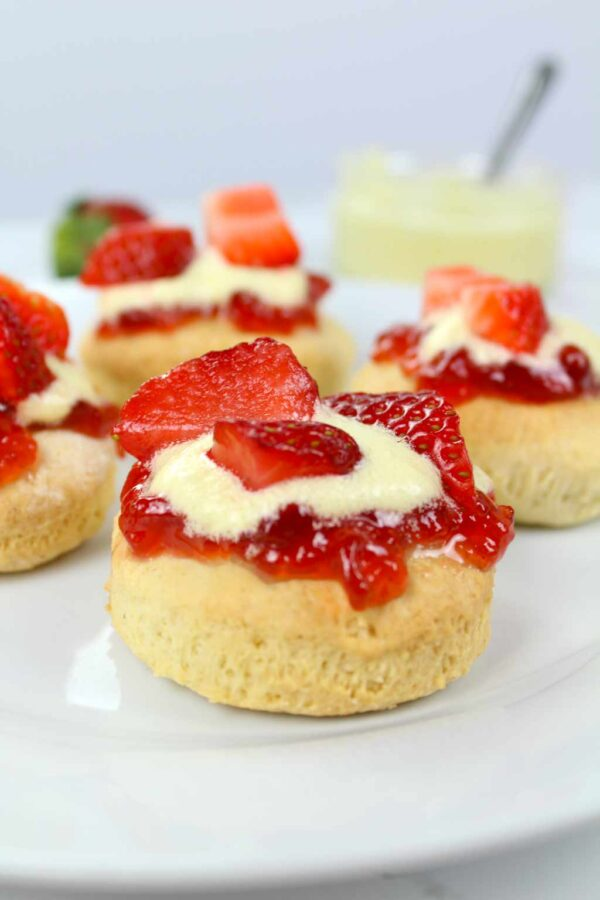 vegan scones served with cream and jam