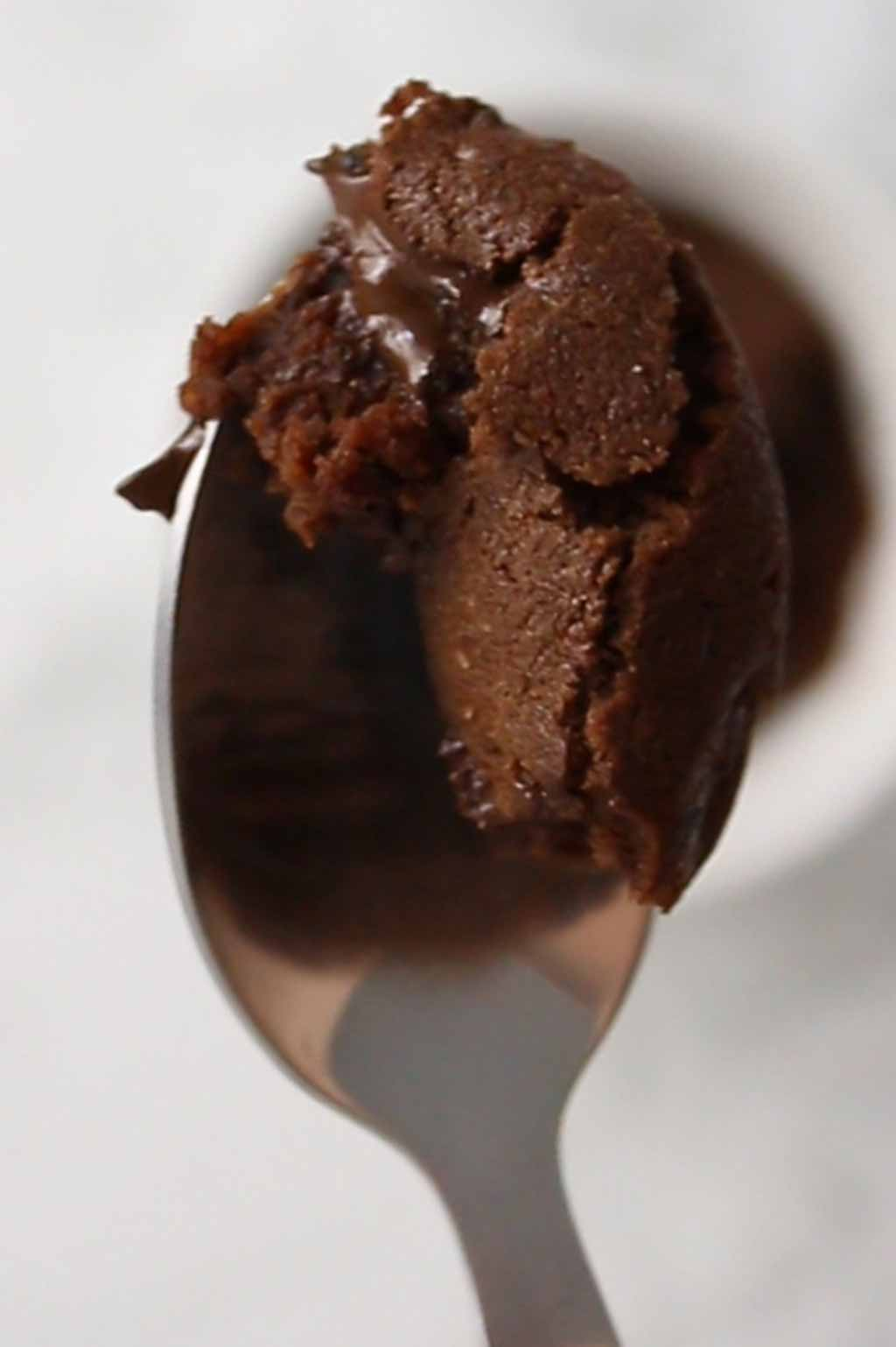a piece of brownie on a spoon