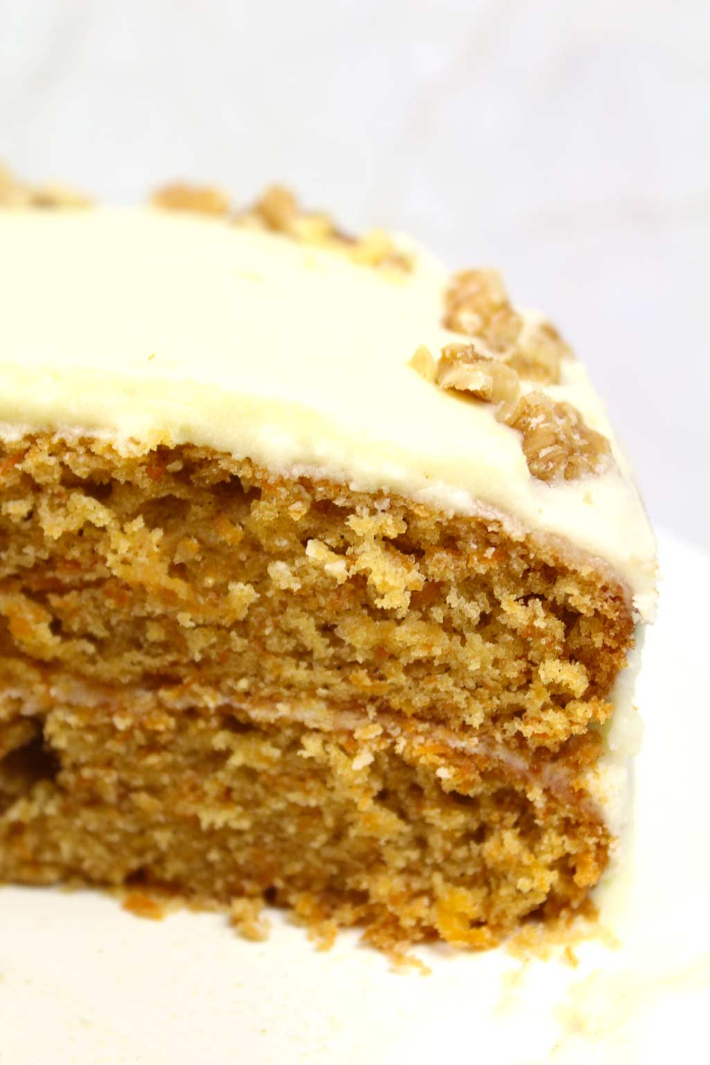 close up of the sliced carrot cake