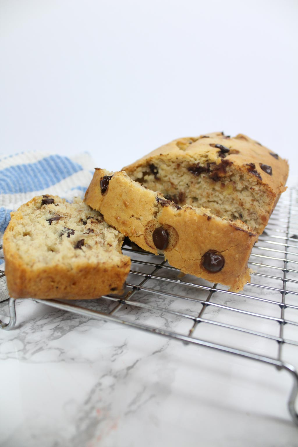 chocolate chip banana bread on wire rack