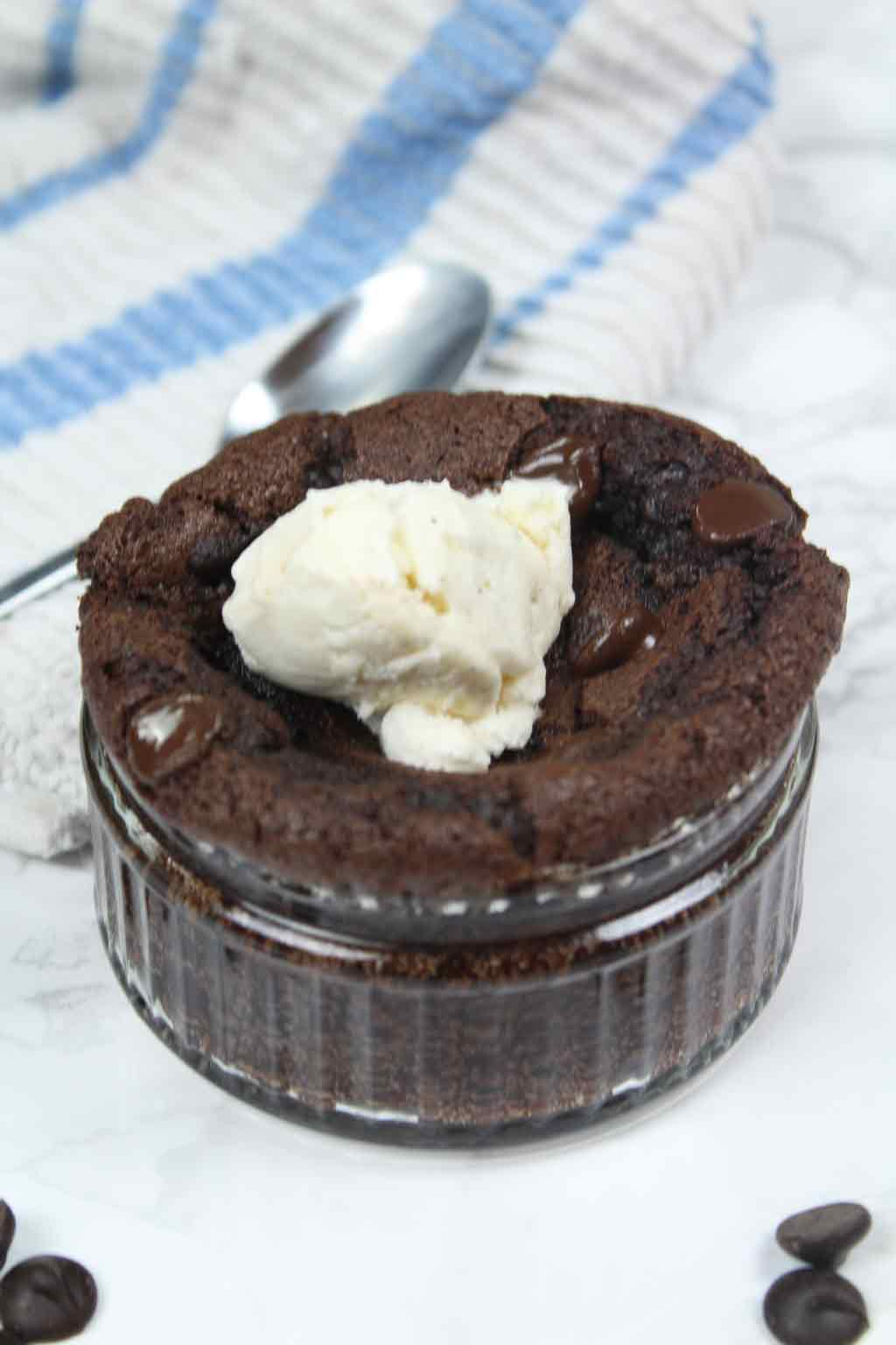 brownie in ramekin with ice cream on top