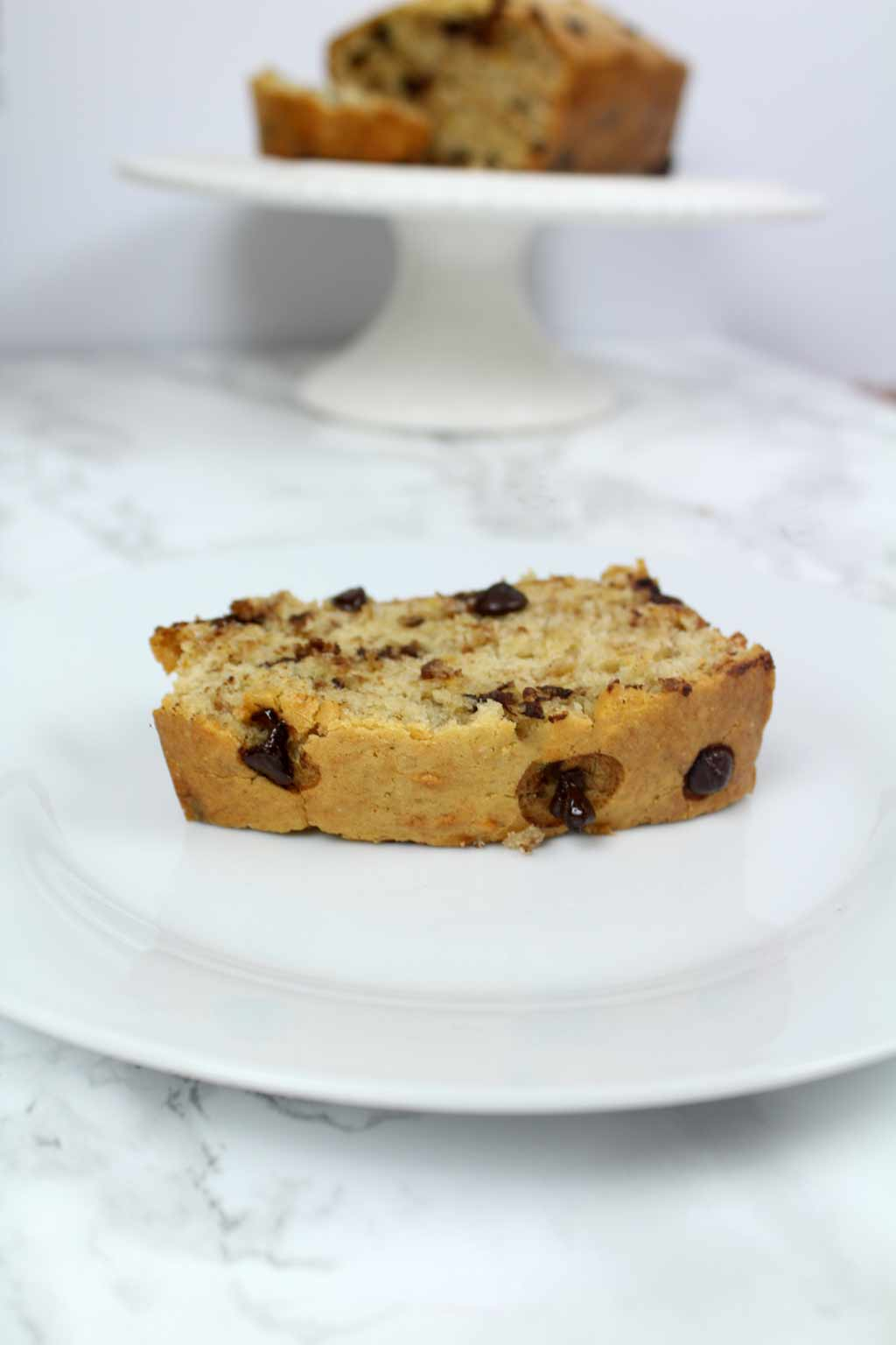 slice of choc chip banana bread