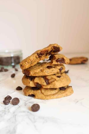 vegan chocolate chip cookies stacked