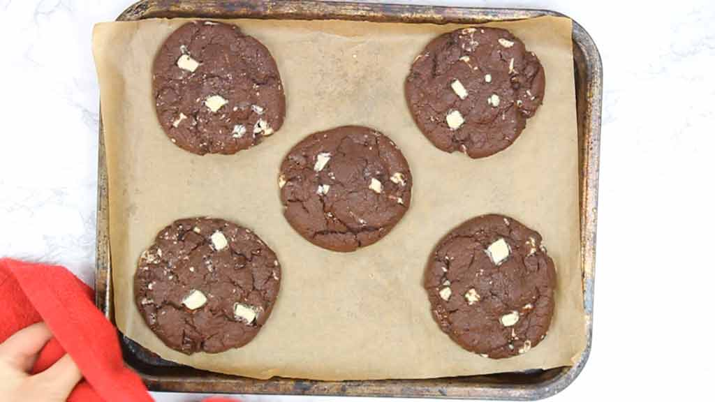 cookies on a tray after baking