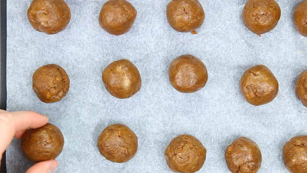 small balls of filling on a tray