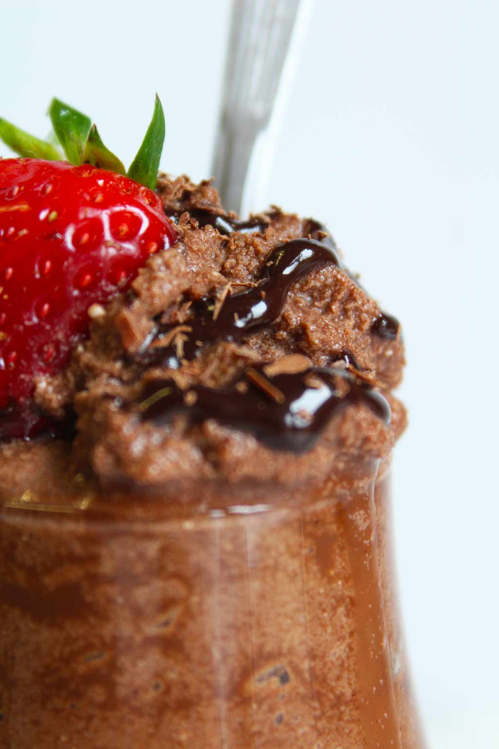 close up of low carb chocolate mousse