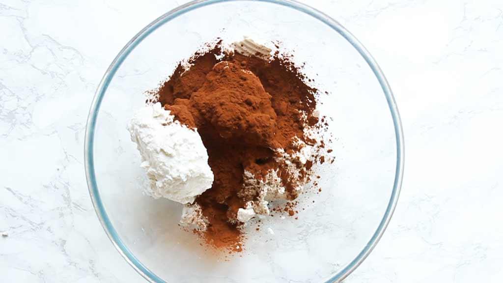 coconut cream, cocoa powder and liquid sweetener in a bowl ,