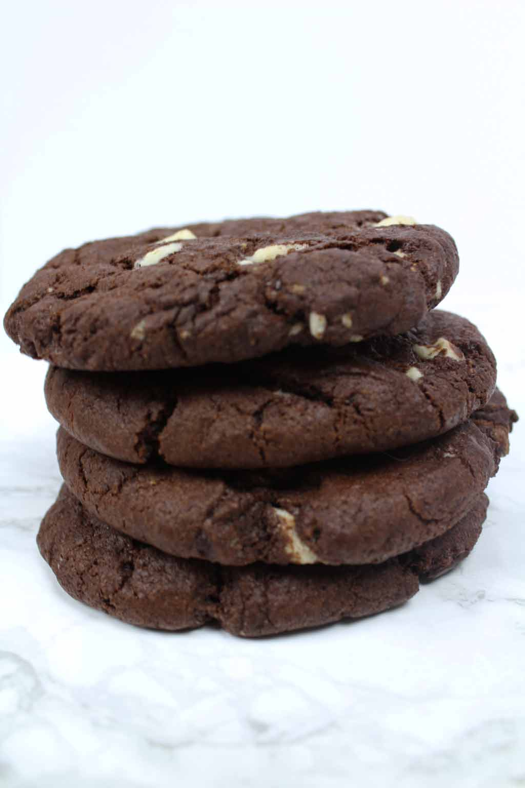 stack of 4 double chocolate cookies