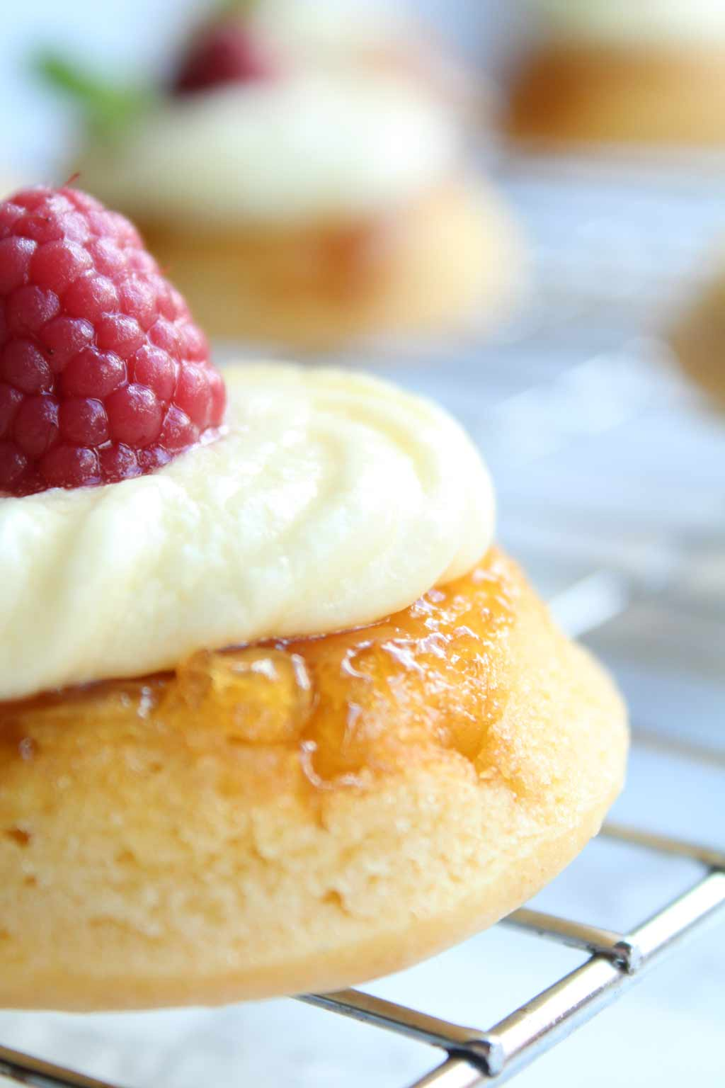 close up of pineapple upside down cupcakes