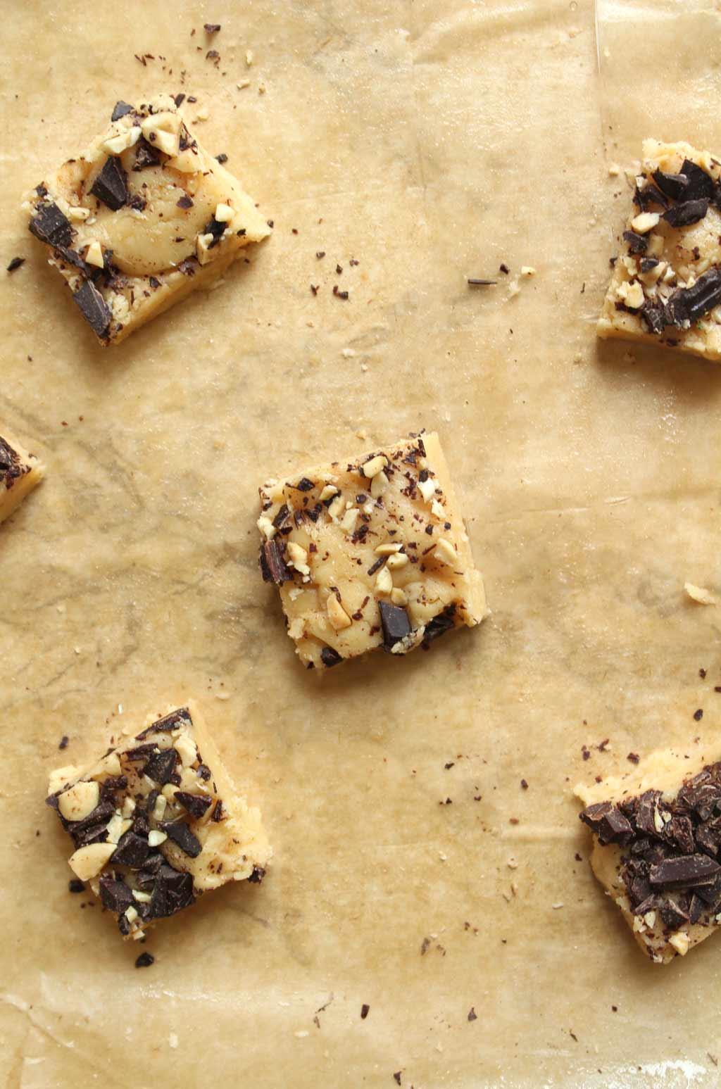 pieces of fudge on parchment paper