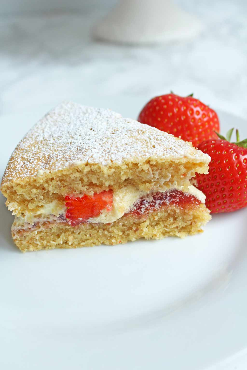 slice of vegan victoria sponge cake