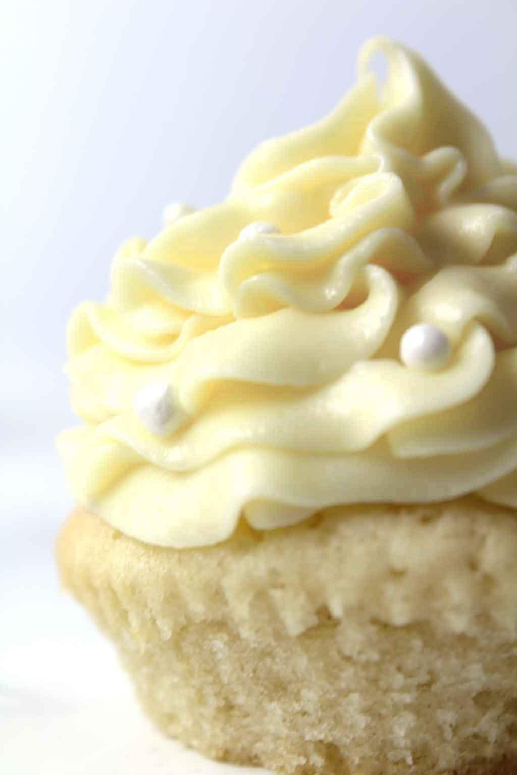 Vegan Vanilla Cupcake Up Close
