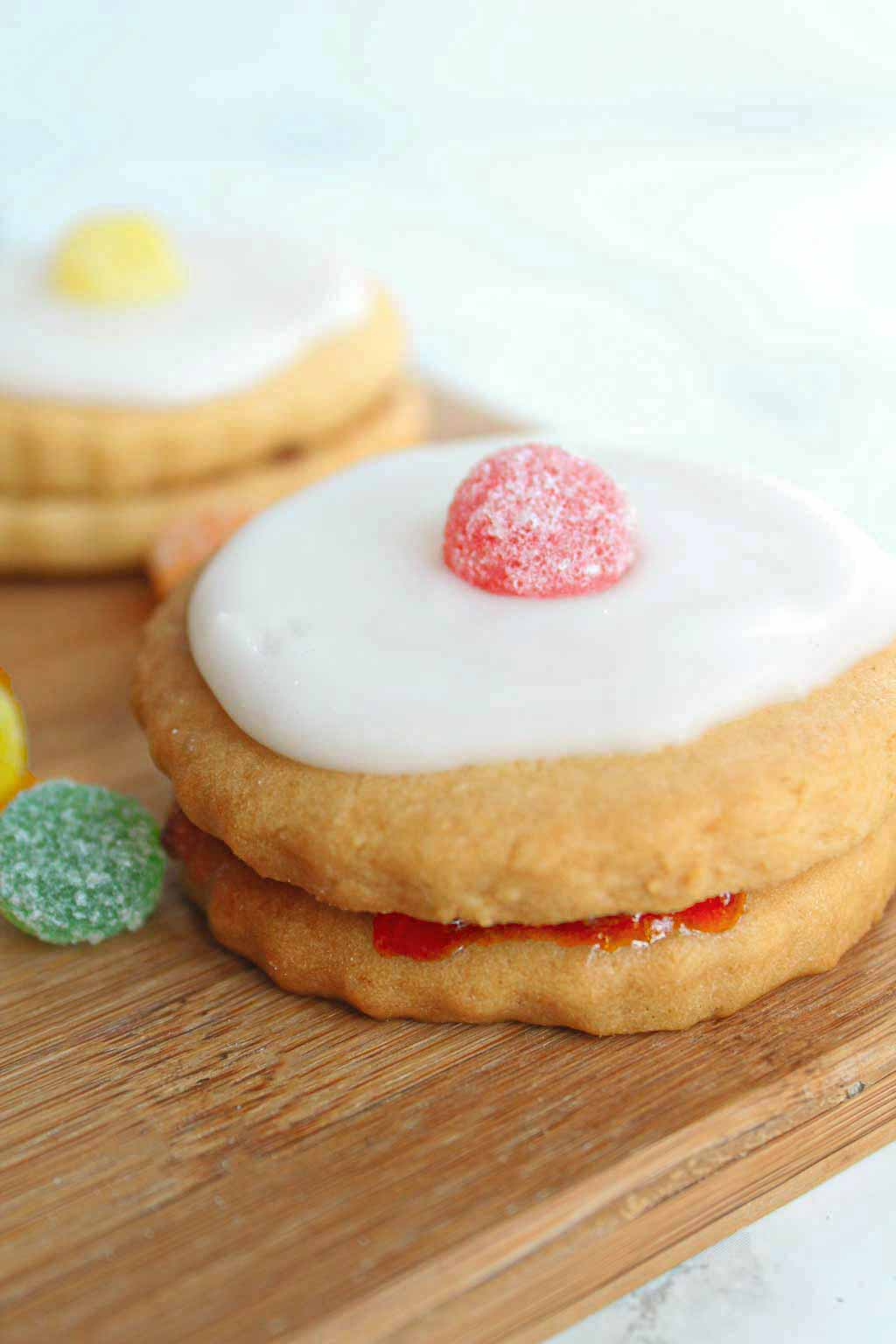 a vegan Empire biscuit with a red Jelly Tot on top