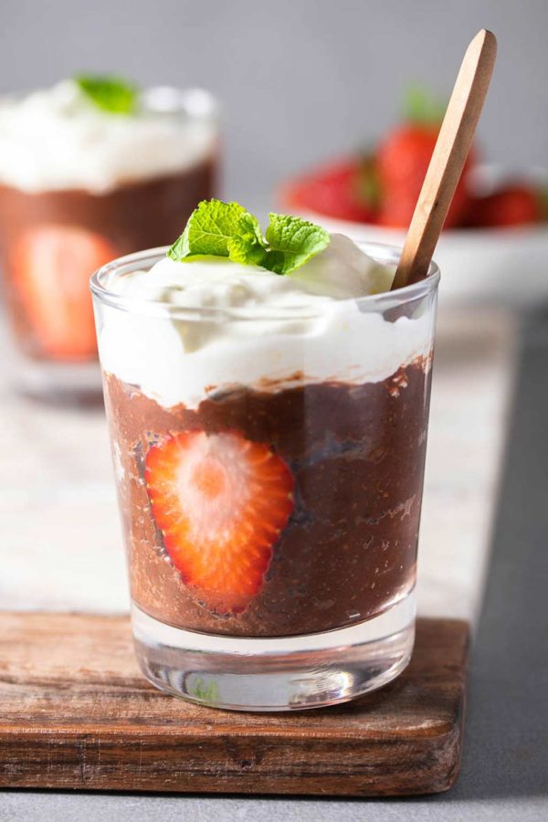 chocolate chia pudding up close in a glass
