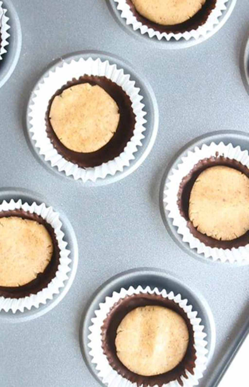 Chocolate Cups Filled With Peanut Butter Filling