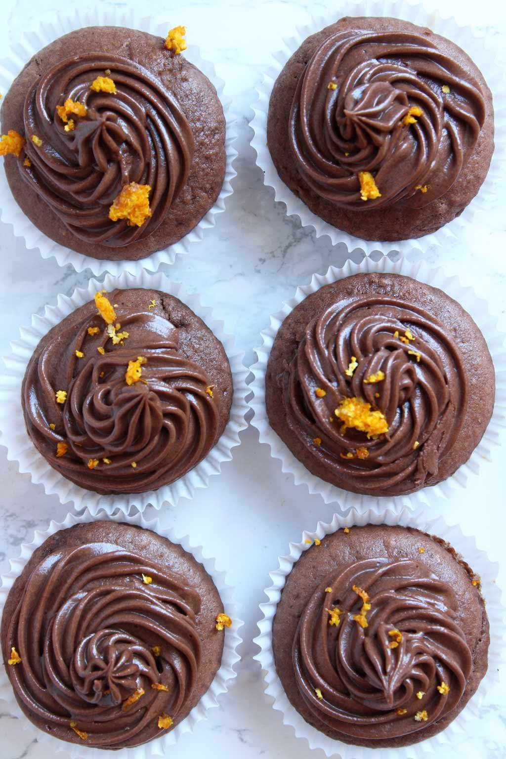 overhead shot of chocolate orange cupcakes