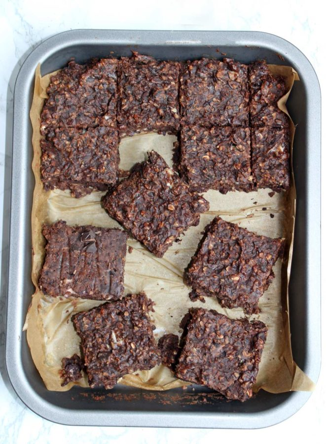 vegan black bean brownie squares in a tray
