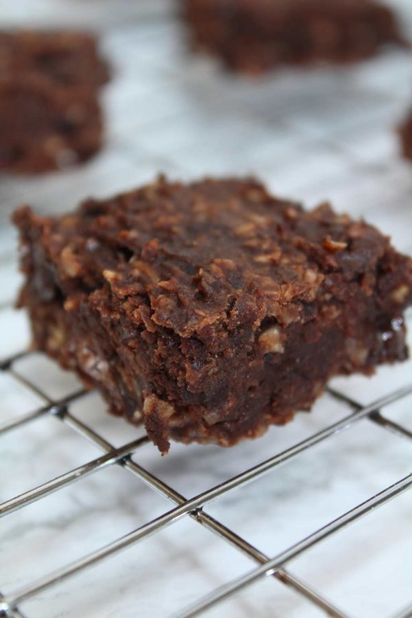 a square of black bean brownie