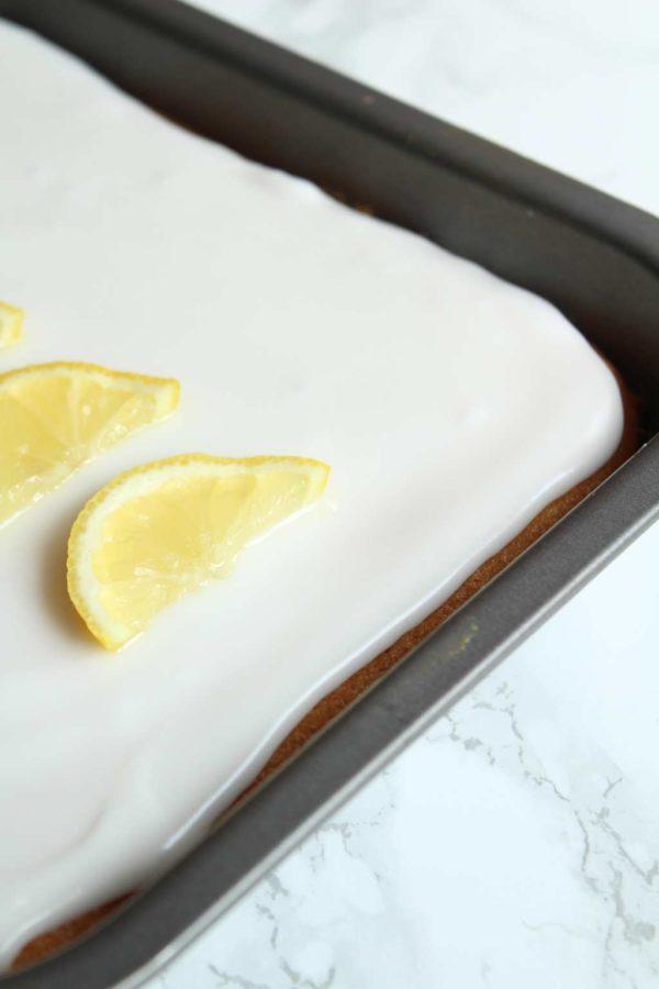 close up of vegan lemon elderflower cake