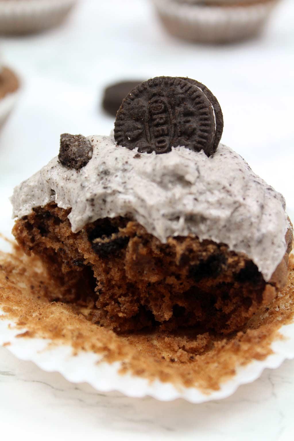 half eaten oreo cupcake