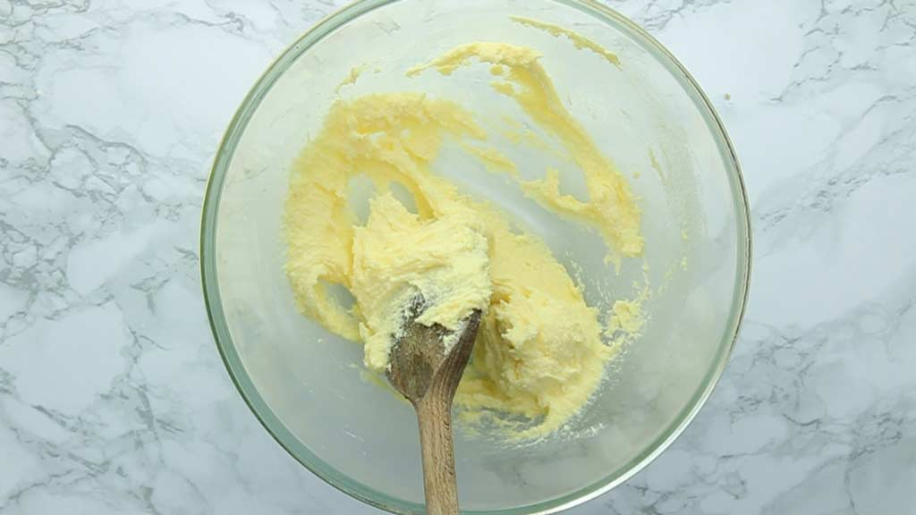 vegan butter and sugar creamed together in a bowl