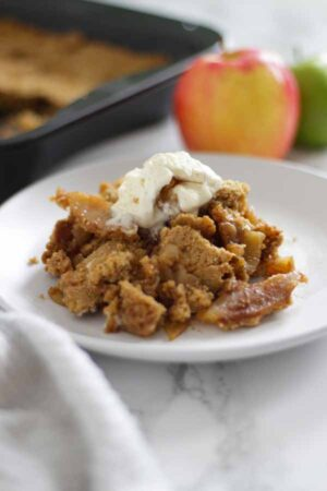Thumbnail image of apple crumble on a plate
