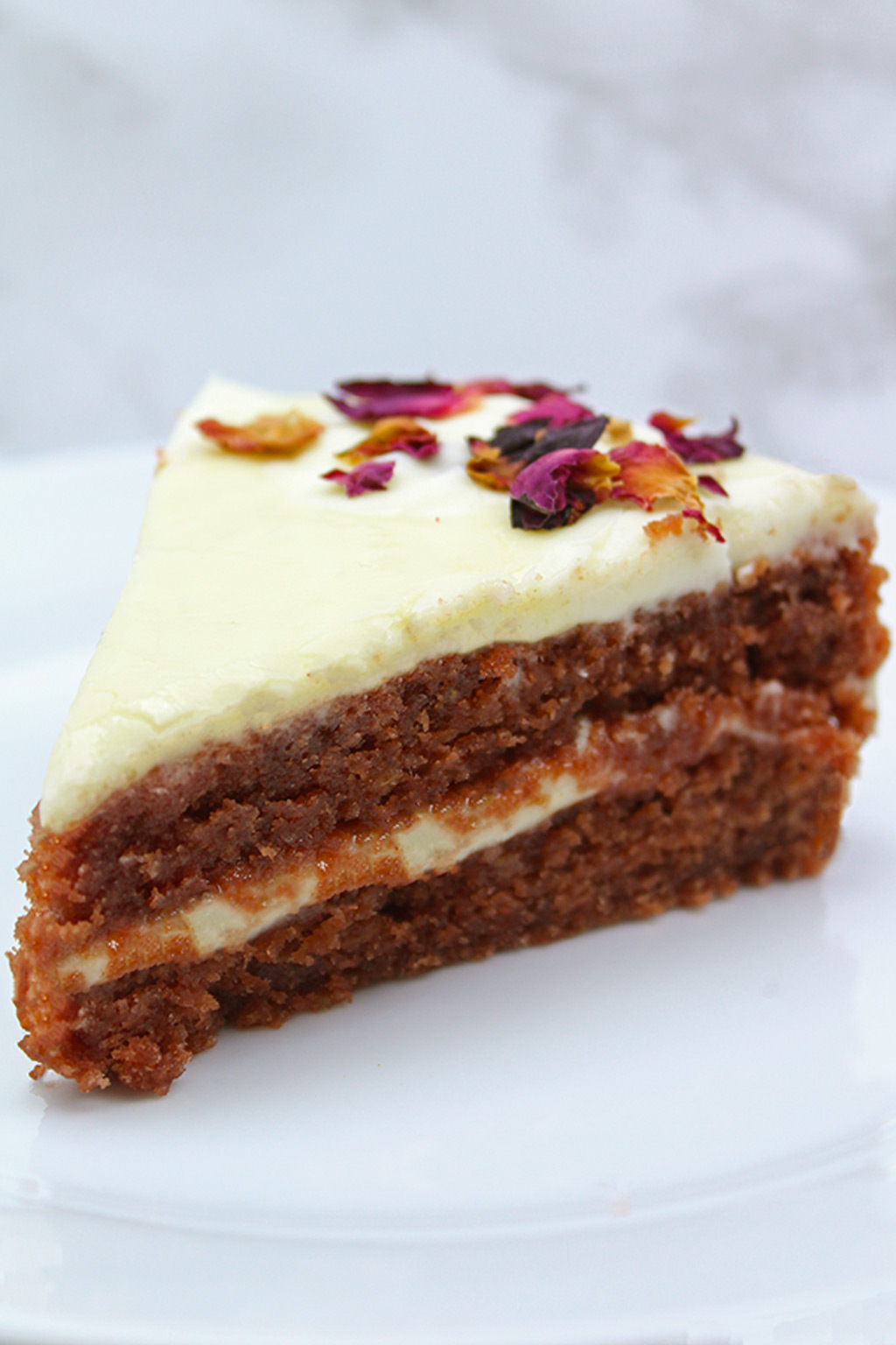 slice of vegan red velvet cake