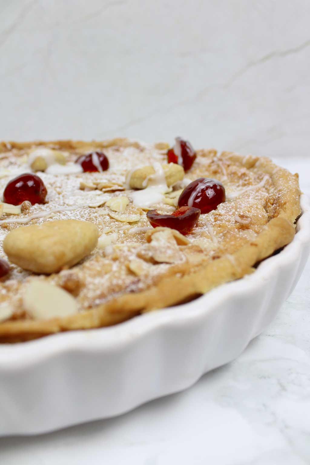 close up of vegan bakewell tart