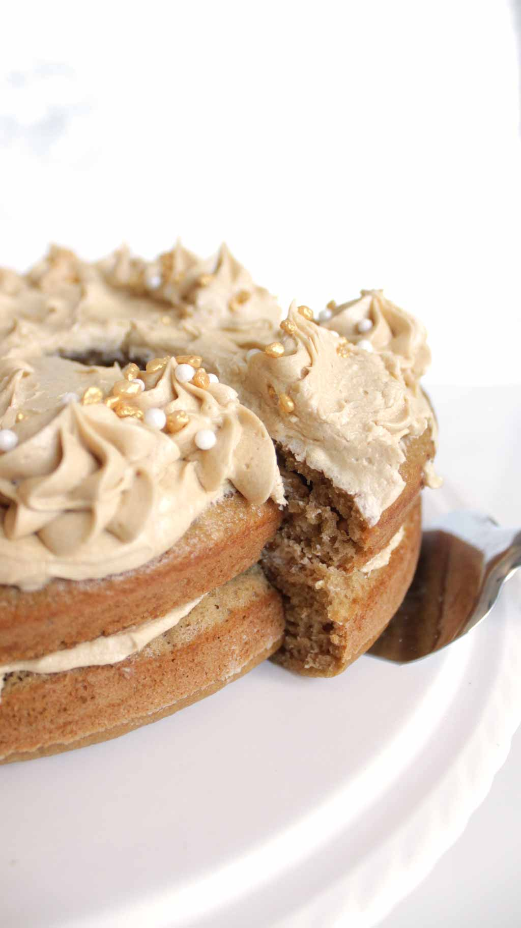 Coffee Cake With A Cake Knife Under One Slice