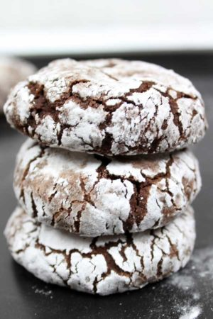 stack of 3 vegan chocolate crinkle cookies