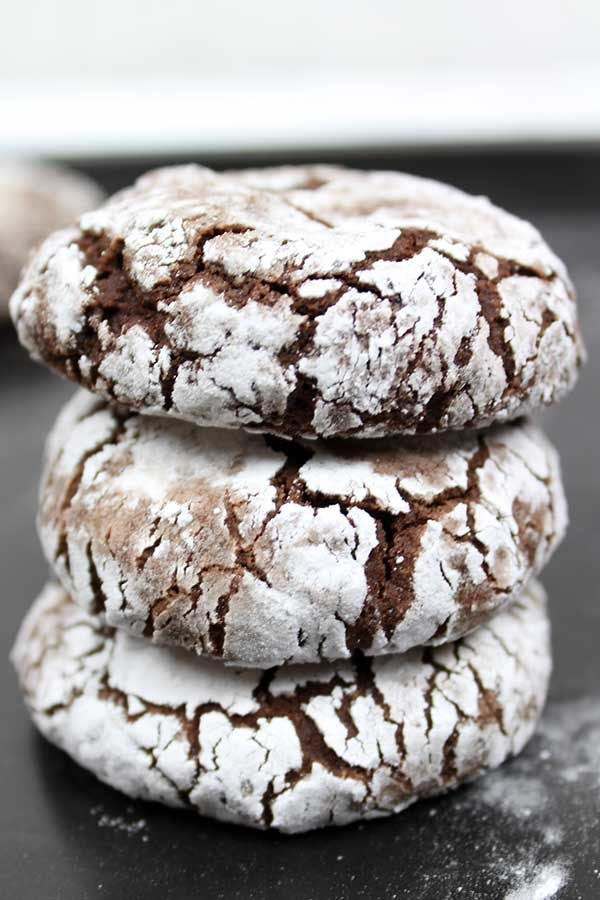stack of 3 vegan chocolate crinkle cookies