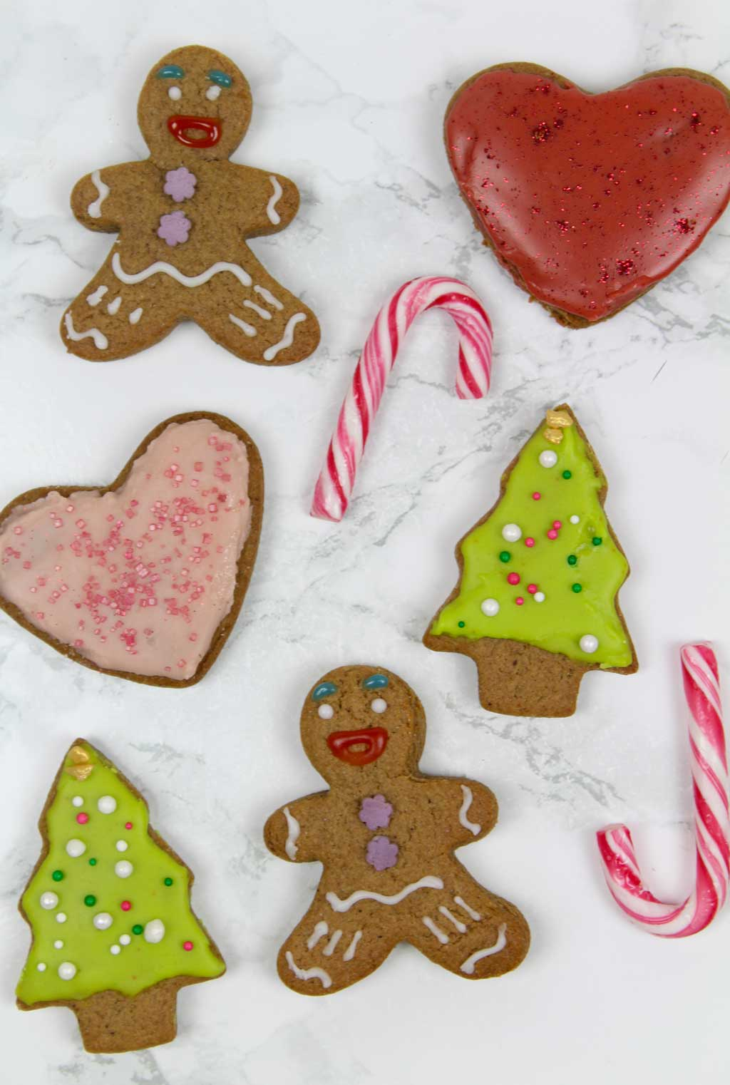a variety of vegan gingerbread cookies decorated with icing